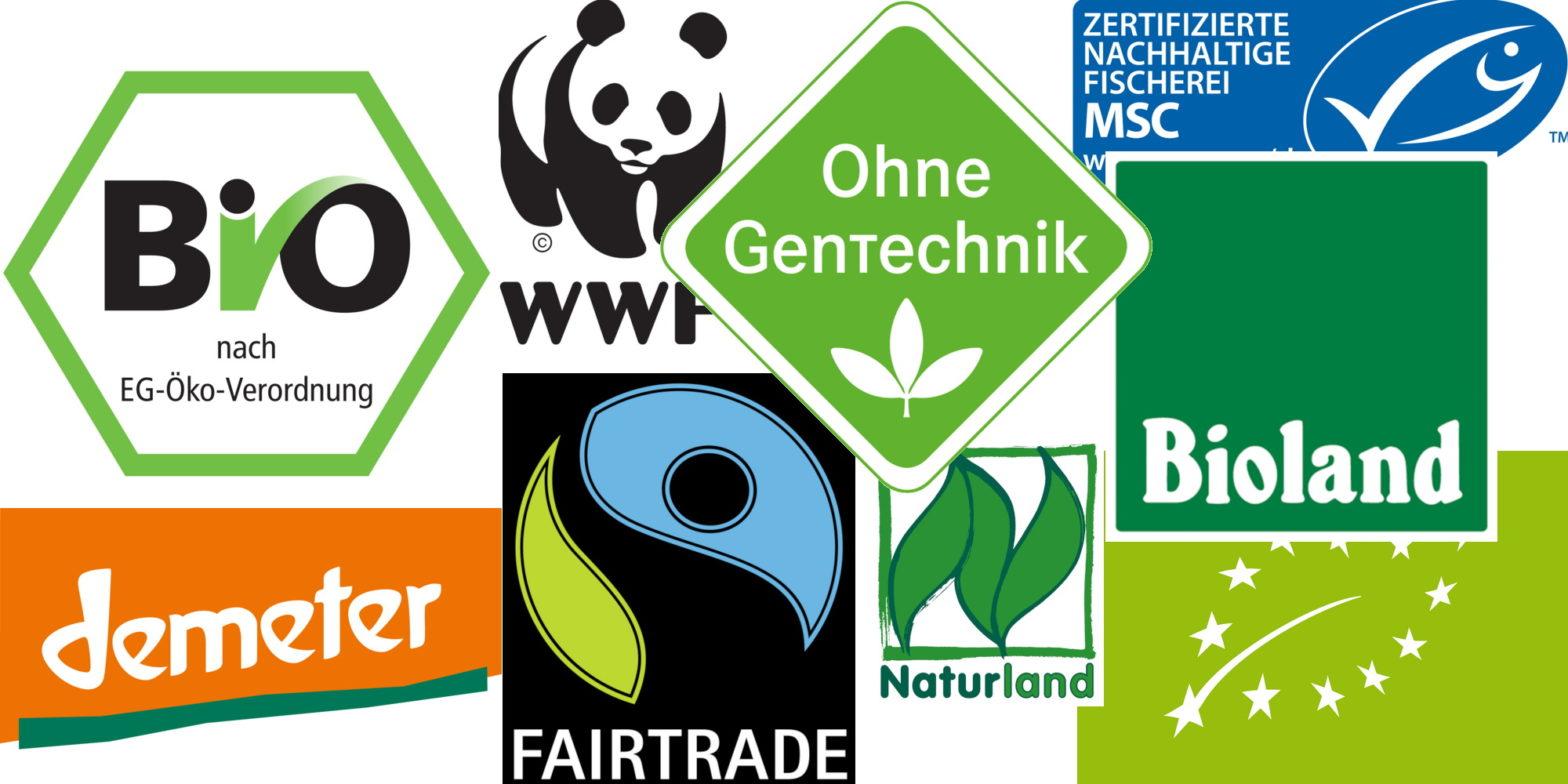 Unterschiedliche Lebensmittel Logos
