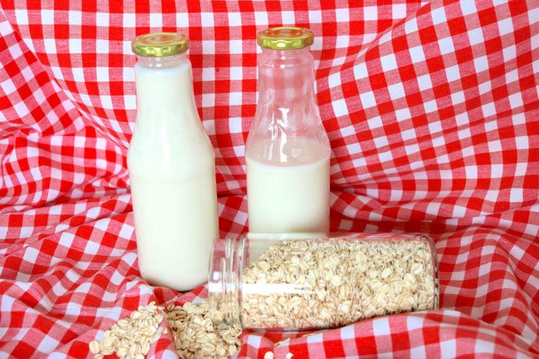 selbstgemachte Hafermilch befüllt in Glasflaschen