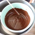 geschmolzene Schokolade im Wasserbad