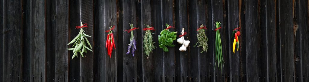 different herbs on a dark wooden wall